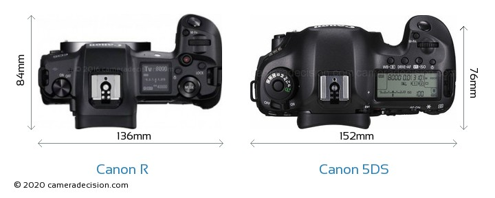 Canon R vs Canon 5DS Camera Size Comparison - Top View