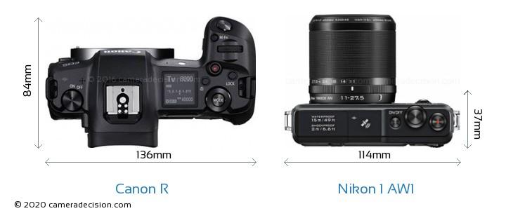 Canon R vs Nikon 1 AW1 Camera Size Comparison - Top View