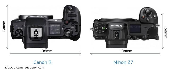 Canon R vs Nikon Z7 Camera Size Comparison - Top View