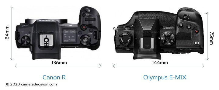 Canon R vs Olympus E-M1X Camera Size Comparison - Top View