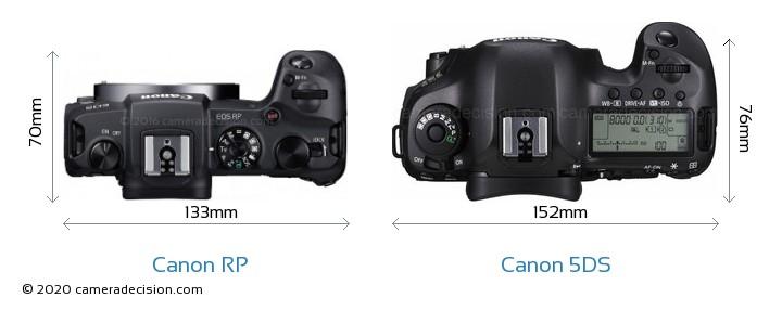 Canon RP vs Canon 5DS Camera Size Comparison - Top View