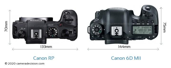 Canon RP vs Canon 6D MII Camera Size Comparison - Top View