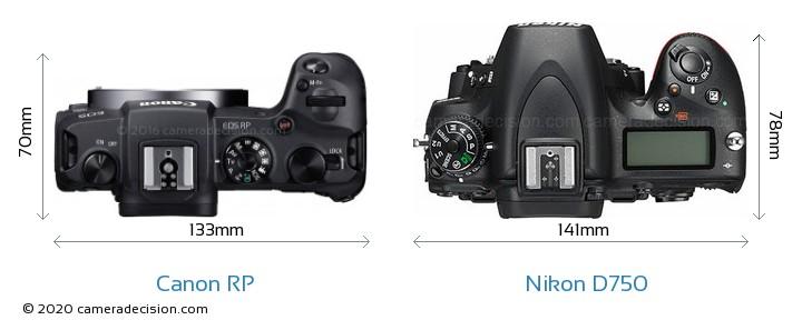 Canon RP vs Nikon D750 Camera Size Comparison - Top View
