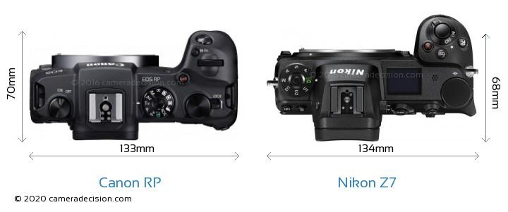 Canon RP vs Nikon Z7 Camera Size Comparison - Top View