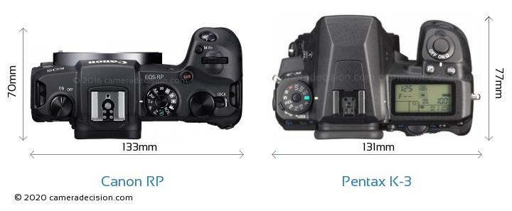 Canon RP vs Pentax K-3 Camera Size Comparison - Top View