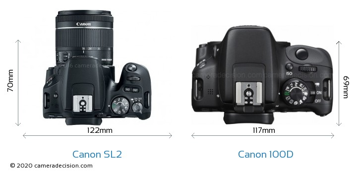 Canon SL2 vs Canon 100D Camera Size Comparison - Top View
