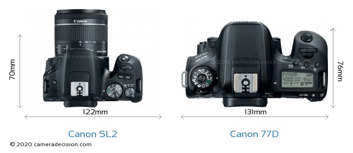 Canon SL2 vs Canon 77D Camera Size Comparison - Top View