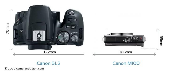Canon SL2 vs Canon M100 Camera Size Comparison - Top View
