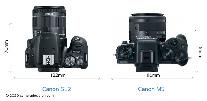 Canon SL2 vs Canon M5 Camera Size Comparison - Top View