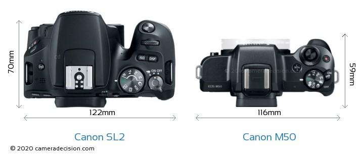 Canon SL2 vs Canon M50 Camera Size Comparison - Top View