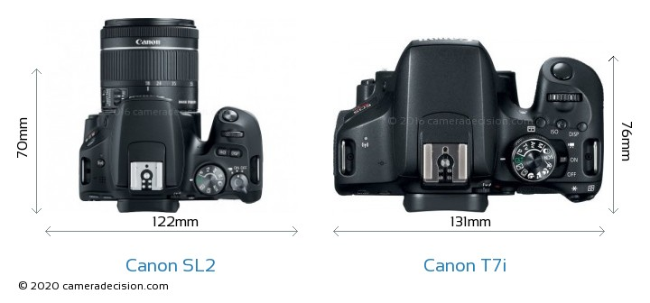 Canon SL2 vs Canon T7i Camera Size Comparison - Top View