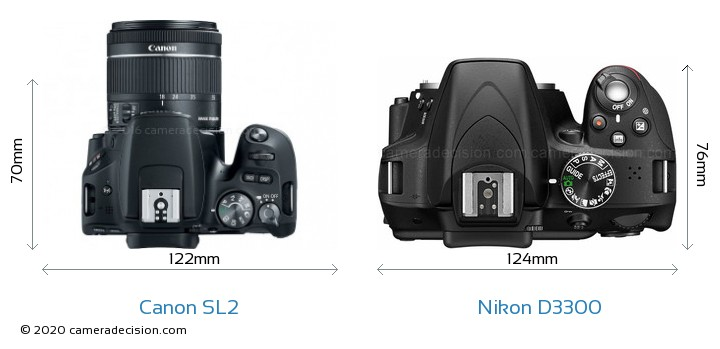 Canon SL2 vs Nikon D3300 Camera Size Comparison - Top View