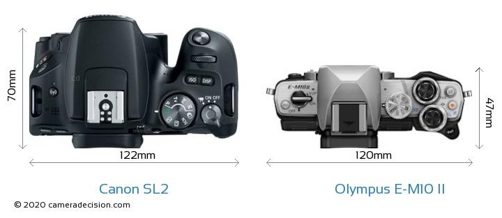 Canon SL2 vs Olympus E-M10 II Camera Size Comparison - Top View