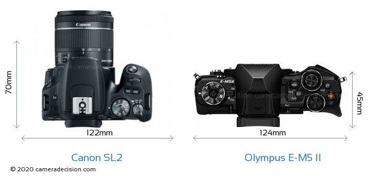Canon SL2 vs Olympus E-M5 II Camera Size Comparison - Top View