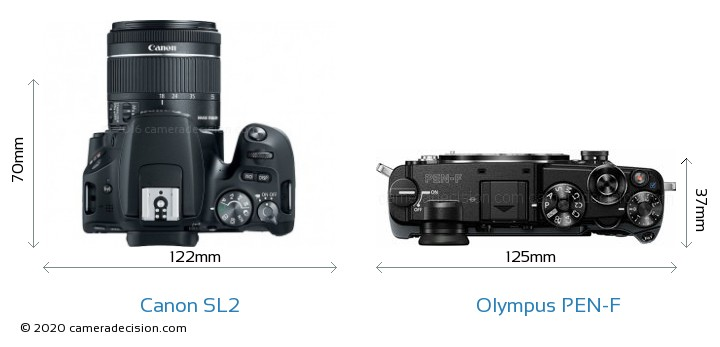Canon SL2 vs Olympus PEN-F Camera Size Comparison - Top View
