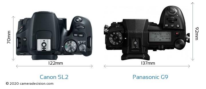 Canon SL2 vs Panasonic G9 Camera Size Comparison - Top View