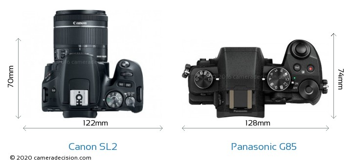 Canon SL2 vs Panasonic G85 Camera Size Comparison - Top View