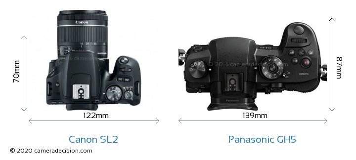 Canon SL2 vs Panasonic GH5 Camera Size Comparison - Top View