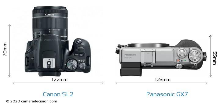 Canon SL2 vs Panasonic GX7 Camera Size Comparison - Top View
