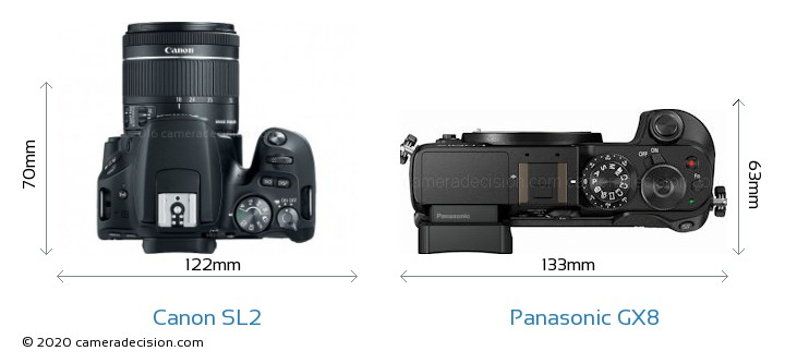 Canon SL2 vs Panasonic GX8 Camera Size Comparison - Top View