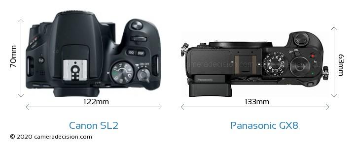 Canon SL2 vs Panasonic GX8 Camera Size Comparison - Top View