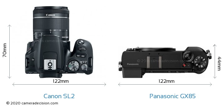 Canon SL2 vs Panasonic GX85 Camera Size Comparison - Top View