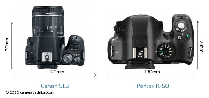 Canon SL2 vs Pentax K-50 Camera Size Comparison - Top View