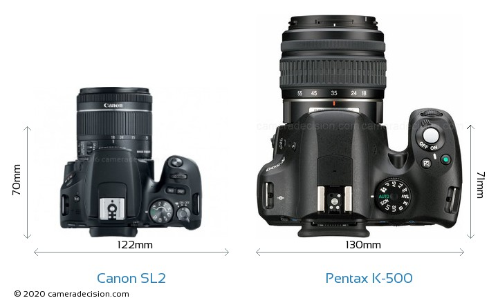 Canon SL2 vs Pentax K-500 Camera Size Comparison - Top View