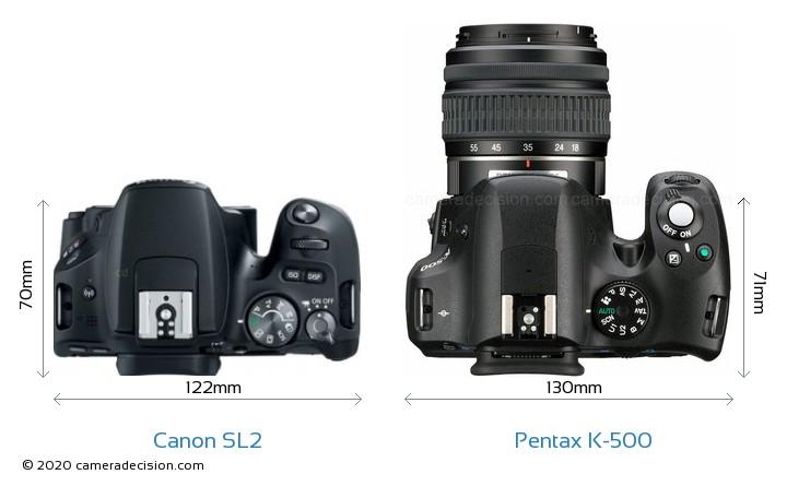 Canon SL2 vs Pentax K-500 Camera Size Comparison - Top View