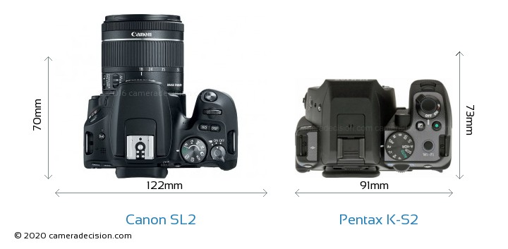 Canon SL2 vs Pentax K-S2 Camera Size Comparison - Top View