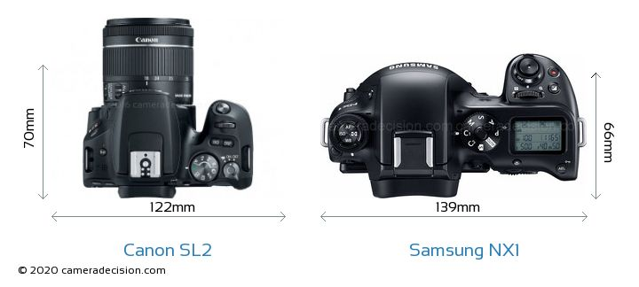 Canon SL2 vs Samsung NX1 Camera Size Comparison - Top View
