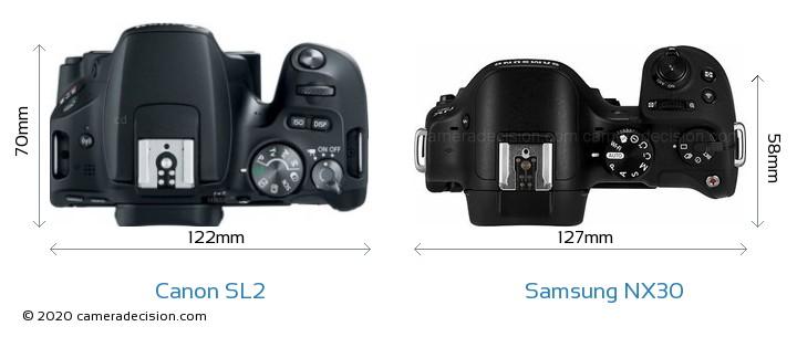 Canon SL2 vs Samsung NX30 Camera Size Comparison - Top View