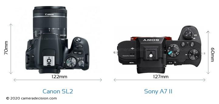 Canon SL2 vs Sony A7 II Camera Size Comparison - Top View