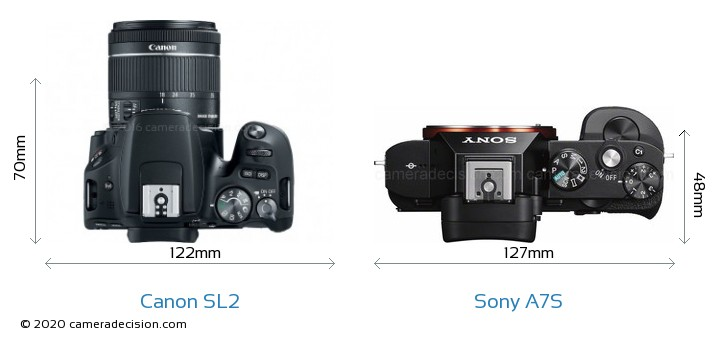 Canon SL2 vs Sony A7S Camera Size Comparison - Top View