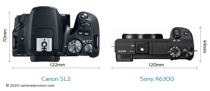 Canon SL2 vs Sony A6300 Camera Size Comparison - Top View