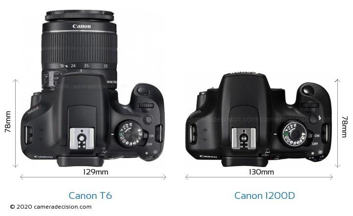 Canon T6 vs Canon 1200D Camera Size Comparison - Top View