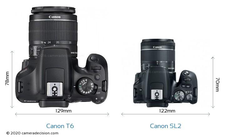 Canon T6 vs Canon SL2 Camera Size Comparison - Top View