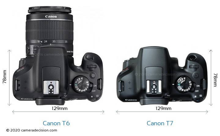 Canon T6 vs Canon T7 Camera Size Comparison - Top View