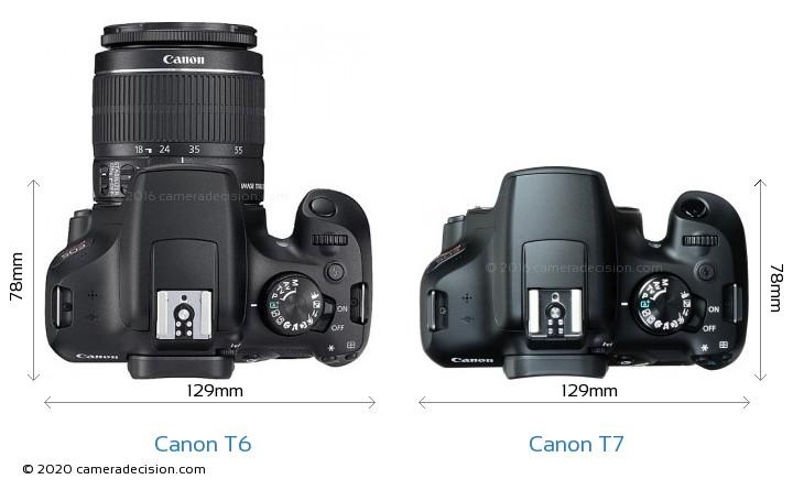 Canon T6 vs Canon T7 Camera Size Comparison - Top View
