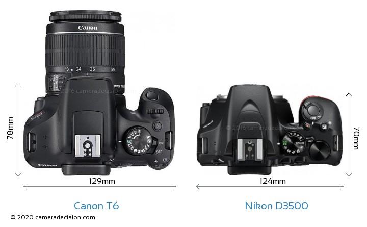 Canon T6 vs Nikon D3500 Camera Size Comparison - Top View