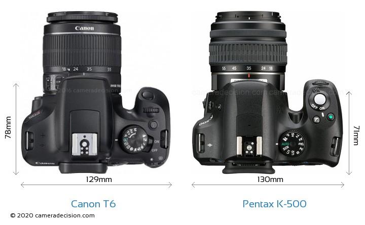 Canon T6 vs Pentax K-500 Camera Size Comparison - Top View