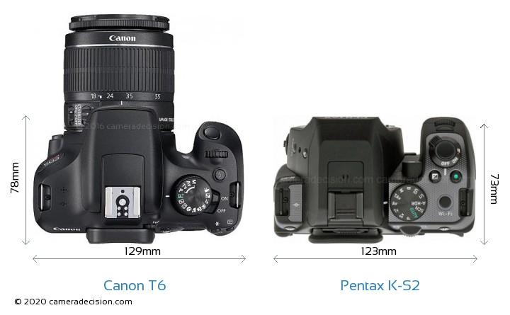 Canon T6 vs Pentax K-S2 Camera Size Comparison - Top View