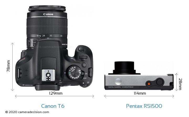 Canon T6 vs Pentax RS1500 Camera Size Comparison - Top View