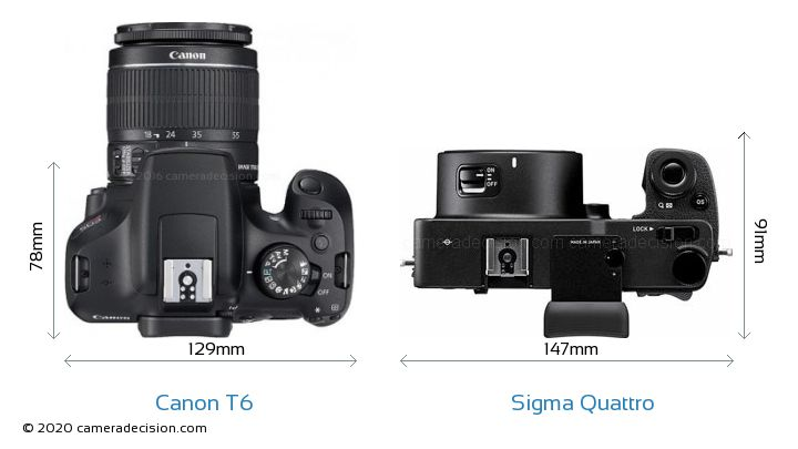 Canon T6 vs Sigma Quattro Camera Size Comparison - Top View