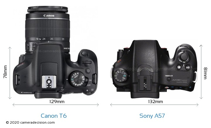 Canon T6 vs Sony A57 Camera Size Comparison - Top View