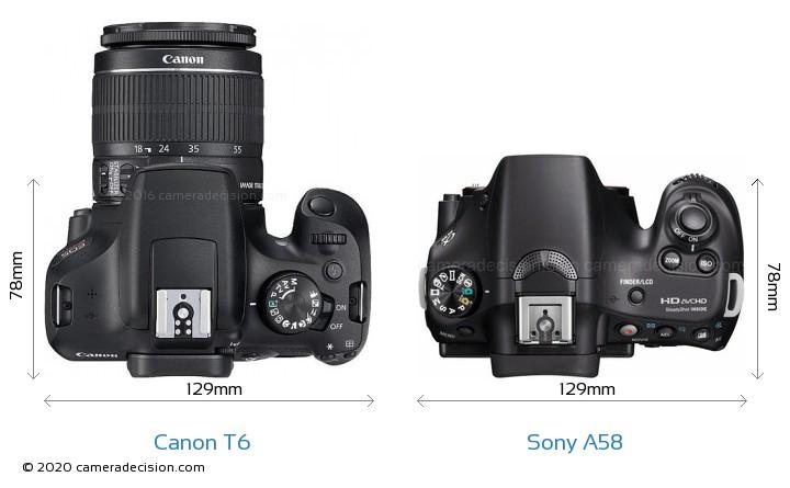 Canon T6 vs Sony A58 Camera Size Comparison - Top View