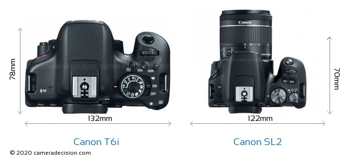 Canon T6i vs Canon SL2 Camera Size Comparison - Top View