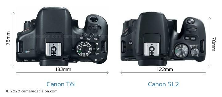 Canon T6i vs Canon SL2 Camera Size Comparison - Top View