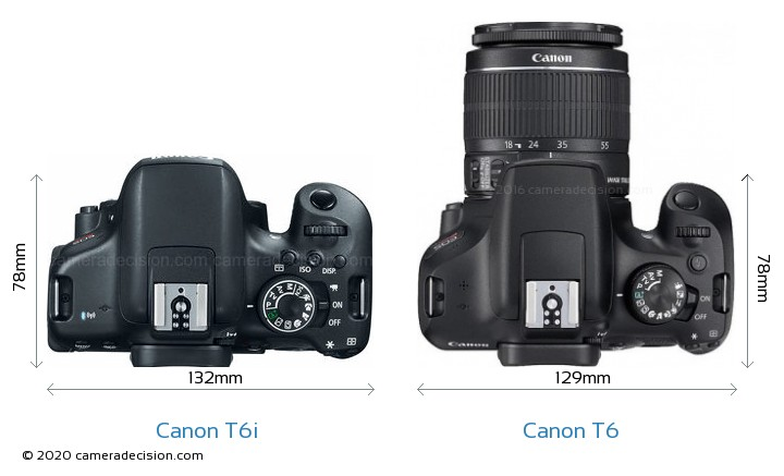 Canon T6i vs Canon T6 Camera Size Comparison - Top View