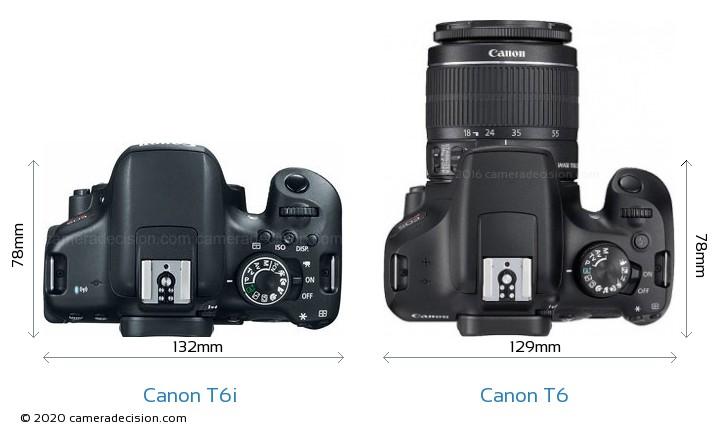 Canon T6i vs Canon T6 Camera Size Comparison - Top View